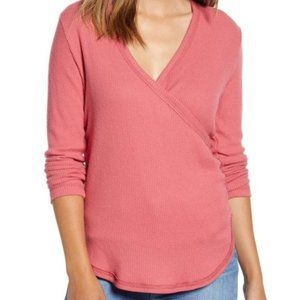 Caslon cozy ribbed vneck BNWT top rose Med
